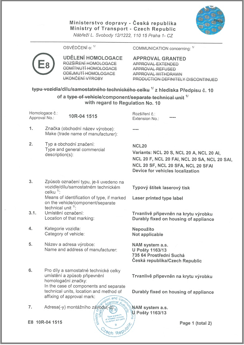 EC TYPE-APPROVAL CERTIFICATE from the Ministry of Transport