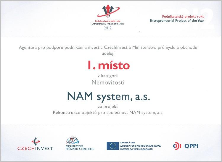 Czechinvest – podnikatelský projekt roku 2012 – Nemovitost