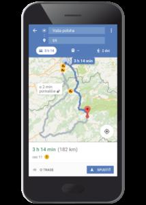 GPS navigácia so zobrazením trasy