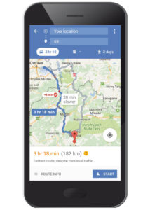 GPS navigation with route display